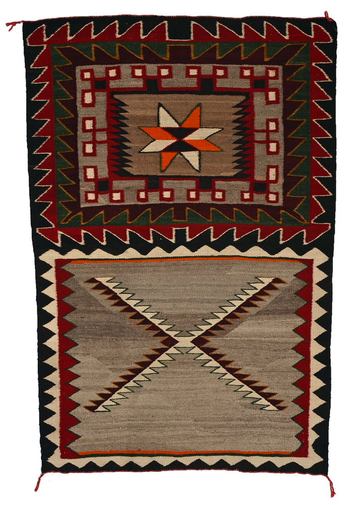"Double Saddle Blanket : Historic Navajo Weaving : PC 198 : 35"" x 53"""