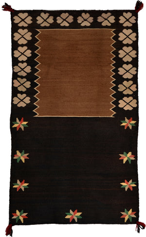"Pictorial Double Saddle Blanket : Historic Navajo Weaving : PC 210 : 30"" x 48"" - Getzwiller's Nizhoni Ranch Gallery"
