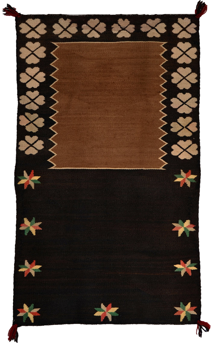 "Pictorial Double Saddle Blanket : Historic Navajo Weaving : PC 210 : 30"" x 48"""