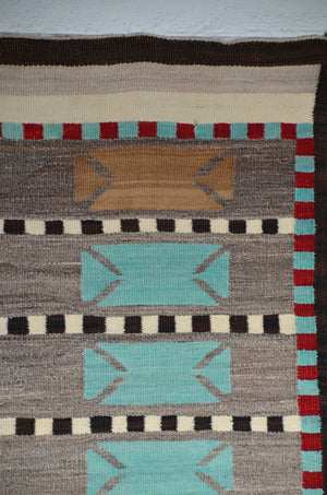 "Bistie Double Saddle Blanket Navajo Weaving : Historic : GHT 2259 : 43"" x 58"""
