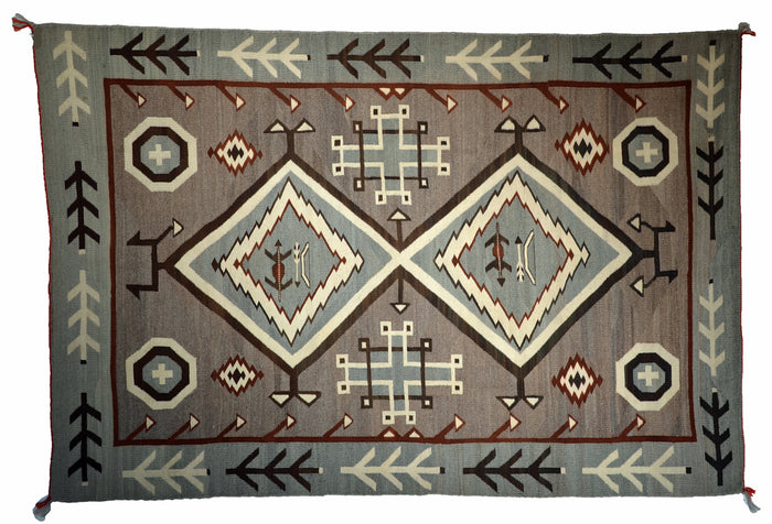 JB Moore- Crystal Pictorial Navajo Rug : Historic : PC 17 : 55″ x 85″