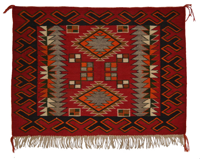 "Navajo Single Saddle Blanket : Historic : PC 209 : 34"" x 25"""