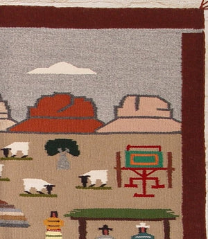 "Pictorial : Navajo Weaving : Pauline Glasses : 1345 : 36"" x 35"" - Getzwiller's Nizhoni Ranch Gallery"