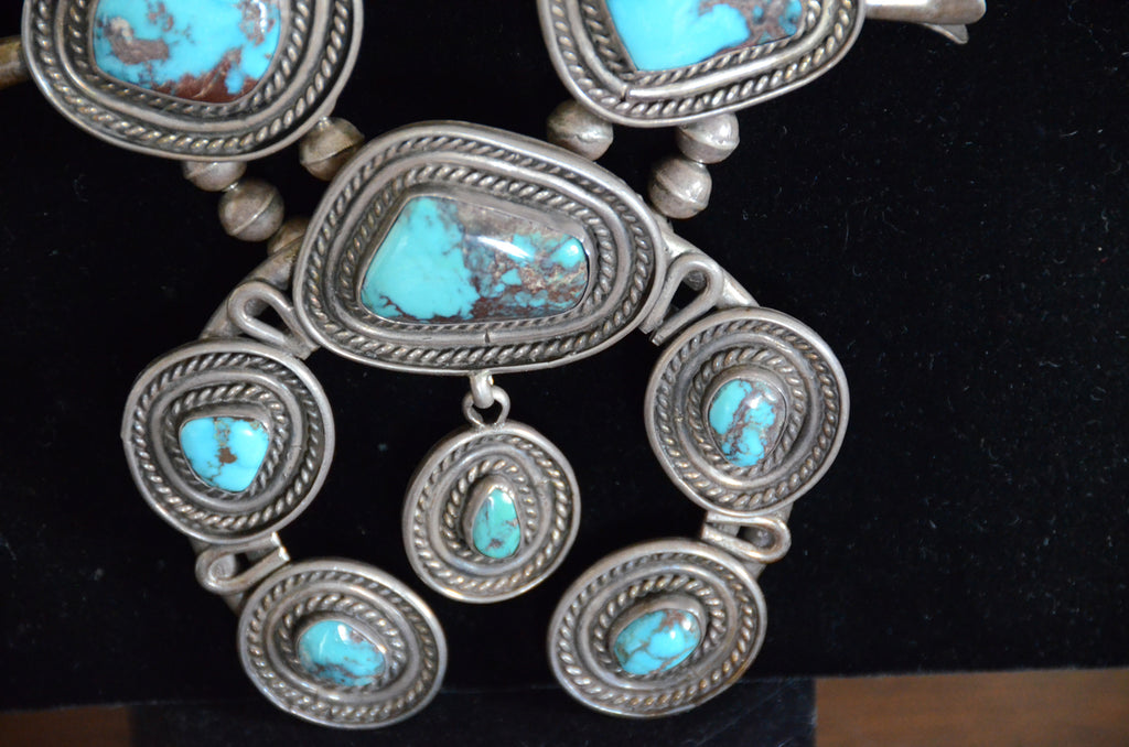 Jewelry : Vintage Navajo Squash Blossom Necklace: Bisbee Turquoise  : JV 2 - Getzwiller's Nizhoni Ranch Gallery