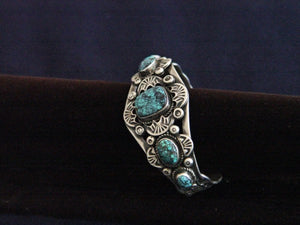 Native American Jewelry : Navajo : Sterling Silver And Turquoise Bracelet : NAJ-2 - Getzwiller's Nizhoni Ranch Gallery