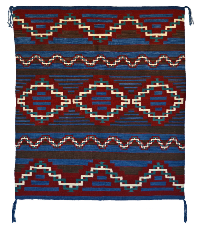 "Womans Manta Navajo Blanket : Jalucie Marianito : Churro 1026 : 52"" x 48"""