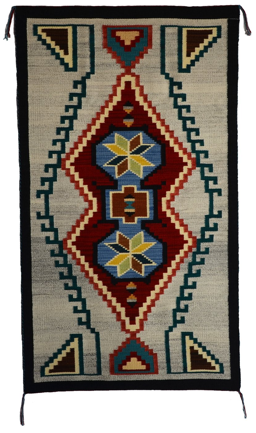 "Innovative Design : Native American Rug : Frances Begay : Churro 1623 : 50"" x 29"" - Getzwiller's Nizhoni Ranch Gallery"