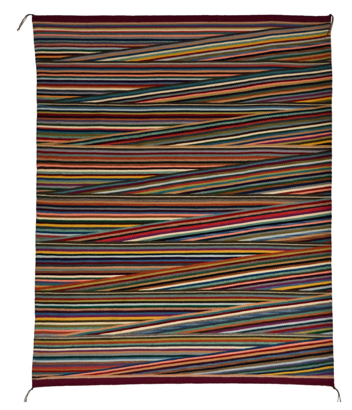 "Optical Navajo Rug : Elsie Bia : Churro 1625 : 48"" x 59"""