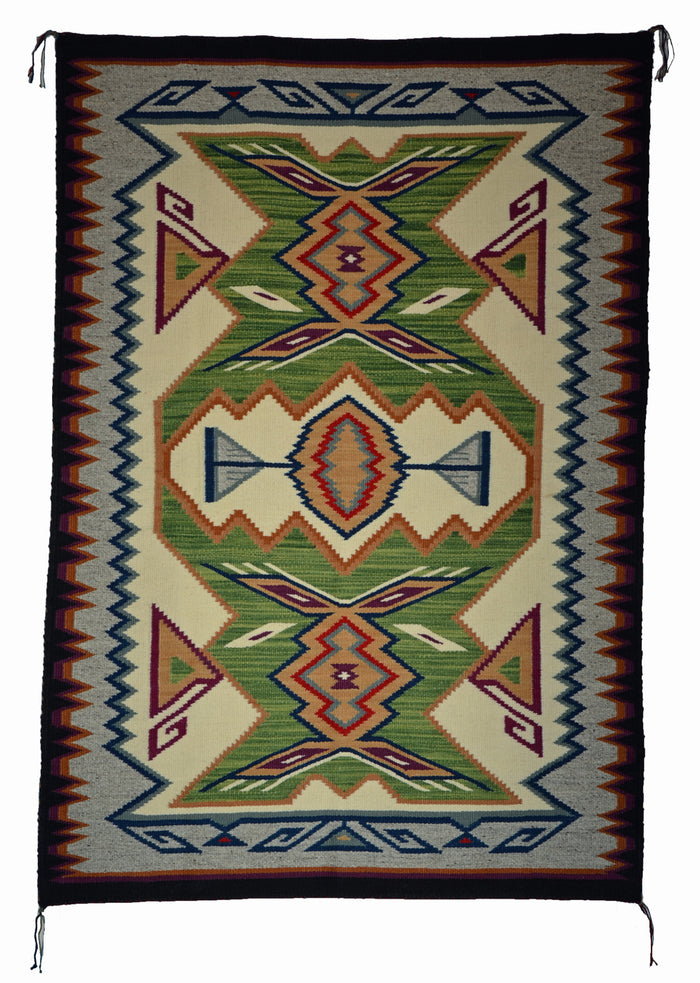 "Innovative Design : Crystal : Native American Rug : Frances Begay : Churro 1630 : 41.5"" x 60"""