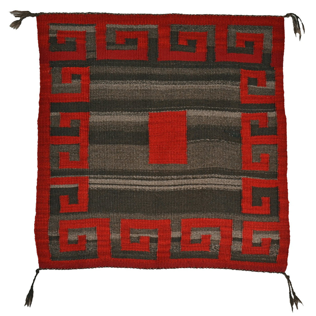 "SOLD Single Saddle Blanket - American Indian Blanket : Addis Redshirt : Churro 928 : 29"" x 29.5"" - Getzwiller's Nizhoni Ranch Gallery"