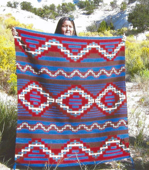 "Womans Manta Navajo Blanket : Jalucie Marianito : Churro 1026 : 52"" x 48"" - Getzwiller's Nizhoni Ranch Gallery"