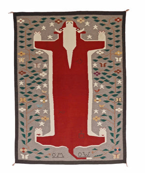 Pictorial Cow Navajo Rug Weaving : Emily Blake : Churro 152 : 5' x 7' - Getzwiller's Nizhoni Ranch Gallery