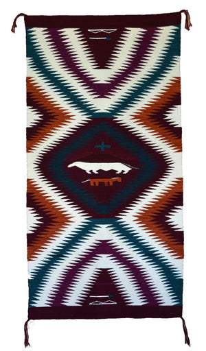 "Eye Dazzler / Optical / Horse Pictorial Navajo Weaving : GH : Churro 923 : 29"" x 60"" - Getzwiller's Nizhoni Ranch Gallery"