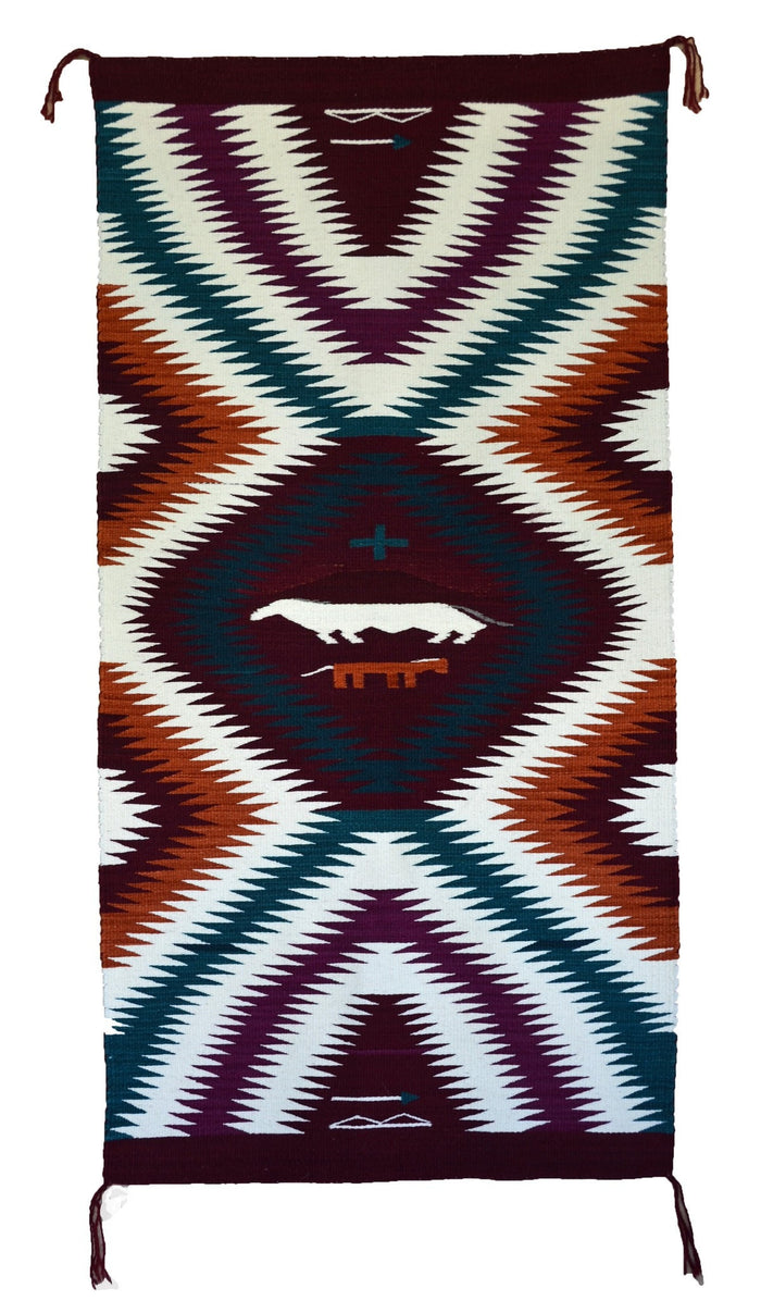 "Eye Dazzler / Optical / Horse Pictorial Navajo Weaving : GH : Churro 923 : 29"" x 60"""