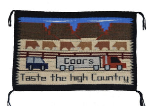 Navajo rug of a Coors Beer Truck driving across the Navajo Nation