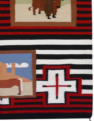 "Pictorial - American Indian Weaving : Leroy Yazzie : 1897 : 29"" x 39"" - Getzwiller's Nizhoni Ranch Gallery"