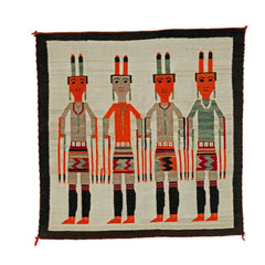 Yei Be Chei - Fire Dancers Navajo Weaving : Historic : GHT 2256