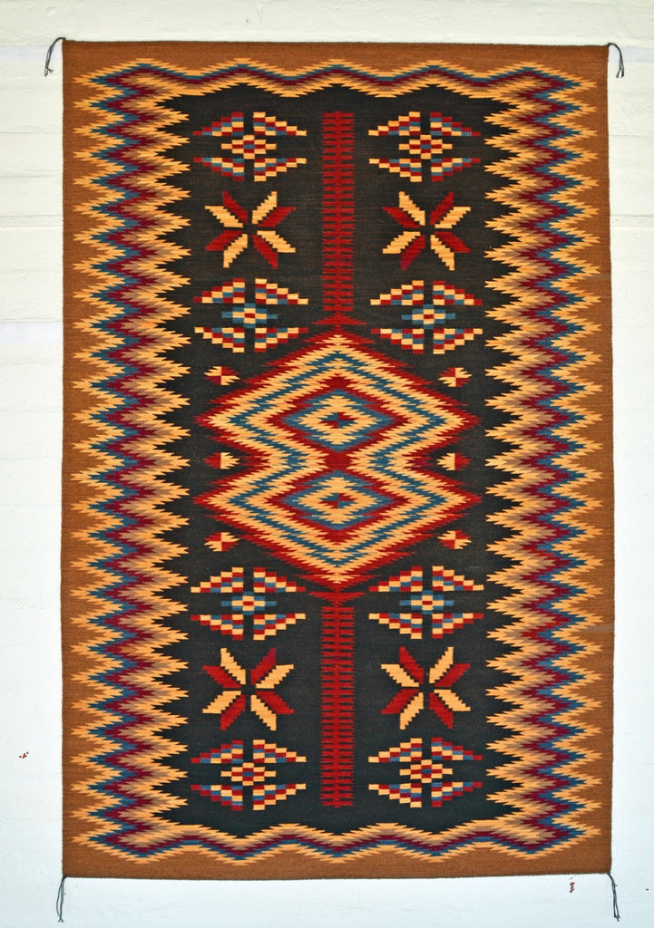 Crystal Old Style Navajo Rug Weaving : Elsie Bia : Churro 1518 - Getzwiller's Nizhoni Ranch Gallery