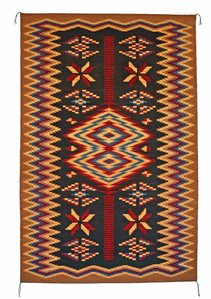 Old Style Crystal Navajo Rug Weaving : Elsie Bia : Churro 1518 : 47″ x 73″