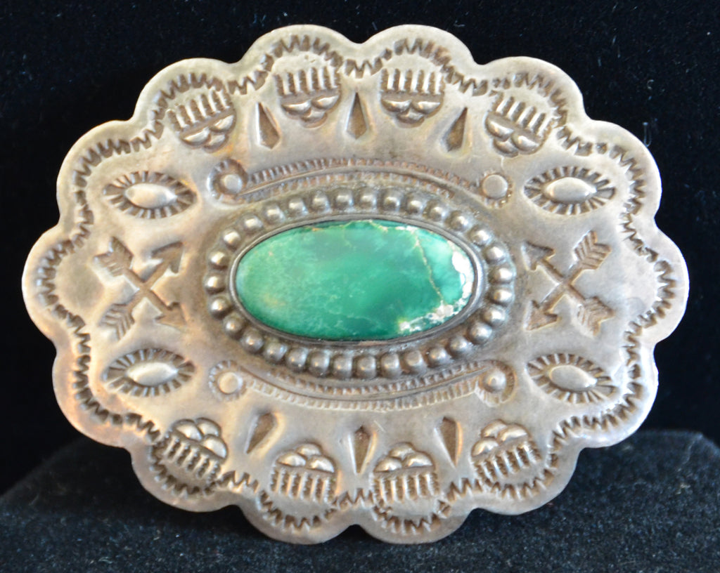 Native American Jewelry : Fred Harvey Era : Navajo Turquoise Pin : NAJ-28P - Getzwiller's Nizhoni Ranch Gallery