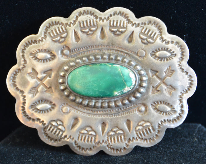 Native American Jewelry : Fred Harvey Era : Navajo Turquoise Pin : NAJ-28P