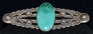 Native American Jewelry : Fred Harvey Era : Navajo Turquoise Pin : NAJ-23P - Getzwiller's Nizhoni Ranch Gallery