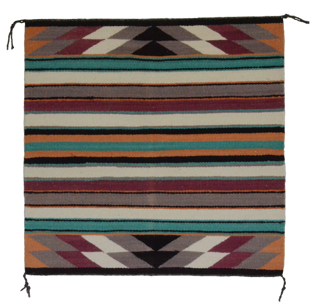 "HOLD Navajo Saddle Blanket - Single: Charlott Yazzie  : Nizhoni Ranch Gallery : SG 17 : 32"" x 32"" - Getzwiller's Nizhoni Ranch Gallery"