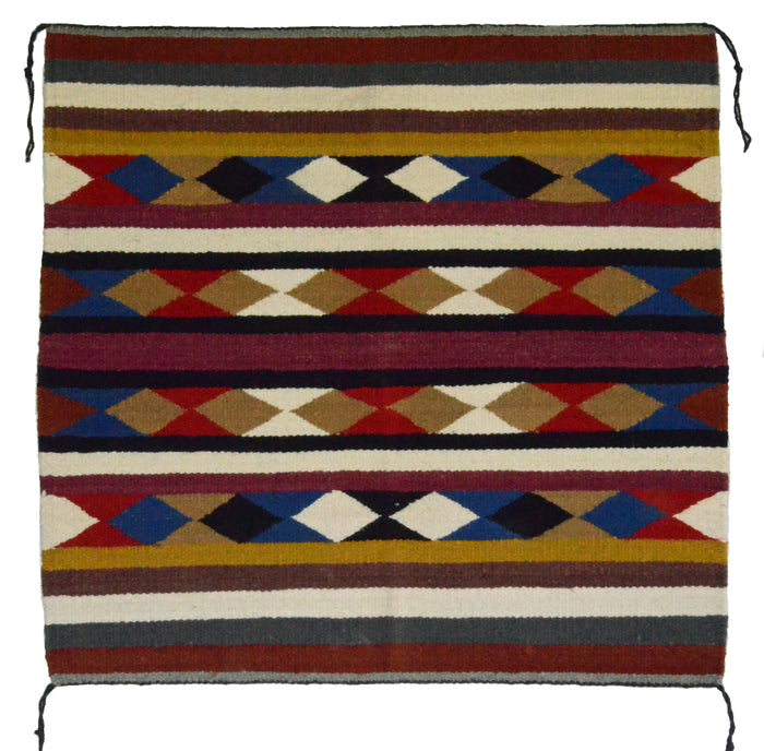"Navajo Saddle Blanket - Single : Charlotte Yazzie : Nizhoni Ranch Gallery : SG 19 : 32"" x 33"""