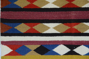 "Navajo Saddle Blanket - Single : Charlotte Yazzie : Nizhoni Ranch Gallery : SG 19 : 32"" x 33"" - Getzwiller's Nizhoni Ranch Gallery"