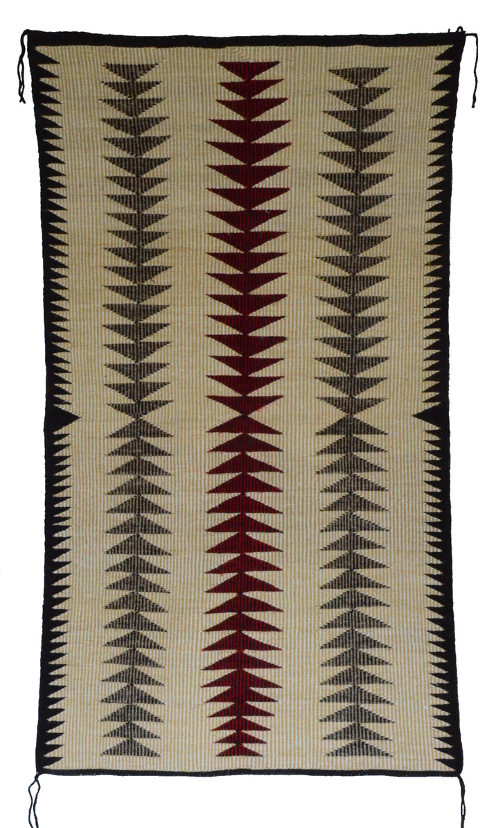 "SOLD Navajo Saddle Blanket - Double : Raised Outline : Nizhoni Ranch Gallery : SG 24 : 34"" x 60"""