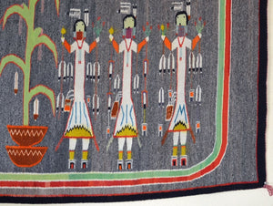 Sandpainting - Beauty Way Navajo Weaving : Historic : GHT 2217 - Getzwiller's Nizhoni Ranch Gallery