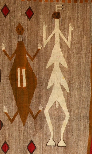 "Sandpainting Dragonfly Yei Navajo Weaving : Historic : GHT 2221 : 71"" x 37"" - Getzwiller's Nizhoni Ranch Gallery"