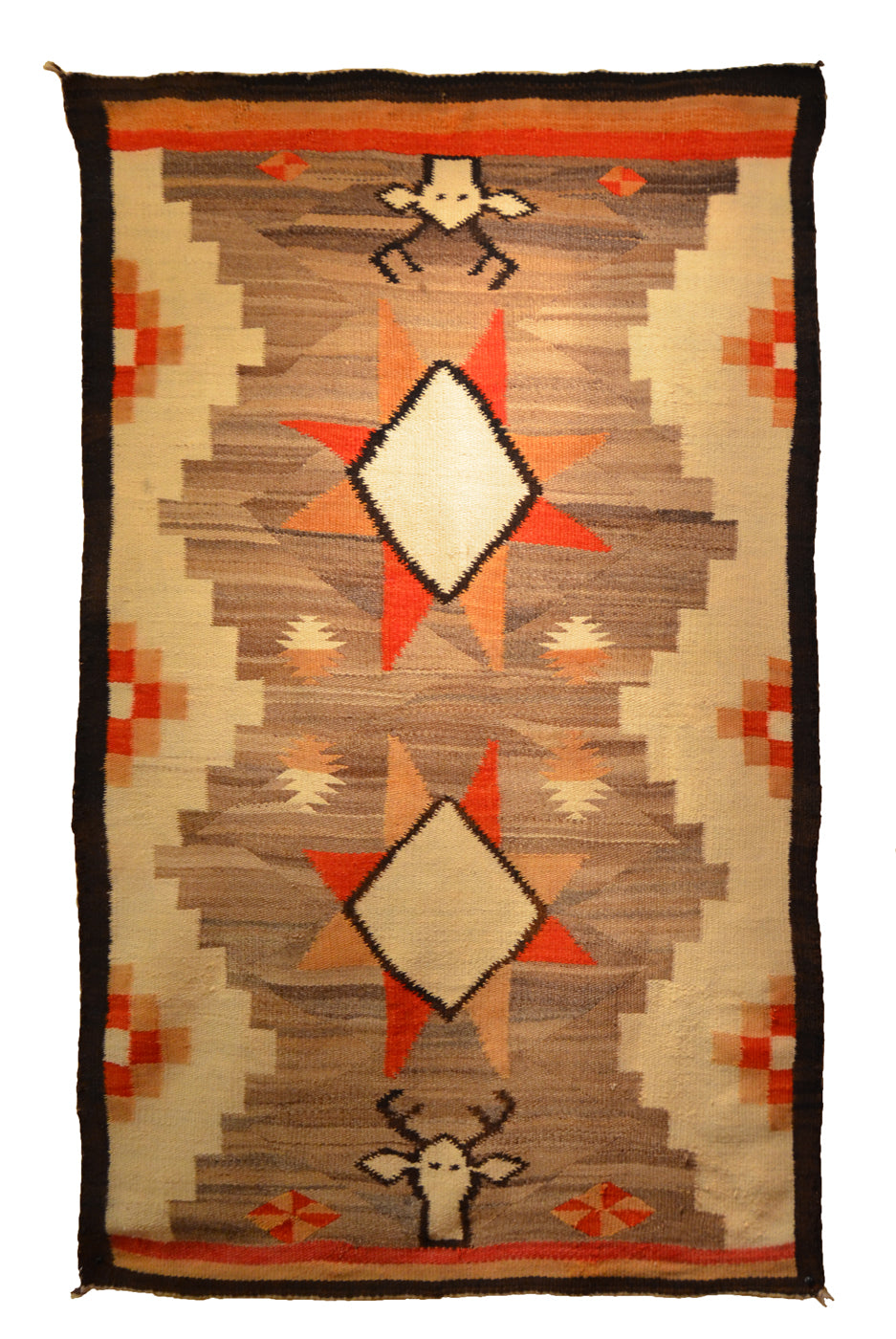 HOLD Transitional Navajo Weaving : Vintage Deer Pictorial : GHT 2253 - Getzwiller's Nizhoni Ranch Gallery