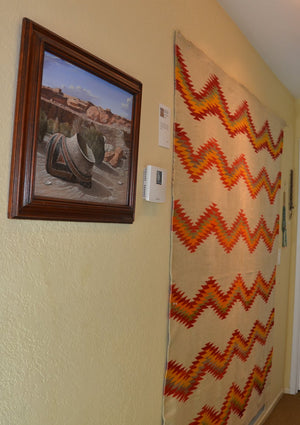 Transitional American Indian Blanket : Antique Navajo weaving : GHT 2318 : 76″ x 72″ - Getzwiller's Nizhoni Ranch Gallery