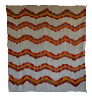 Antique Navajo Transitional Blanket with chevron pattern