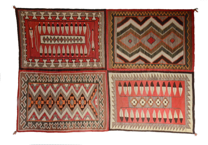 "Antique Navajo Rug: 4 in 1 Teec Nos Pos Pictorial : GHT 187 : 64"" x 90"""