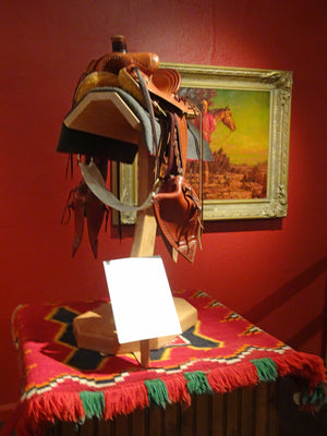 Fancy Antique Teec Nos Pos Navajo Single Saddle Blanket on display at the Desert Caballeros Western Museum