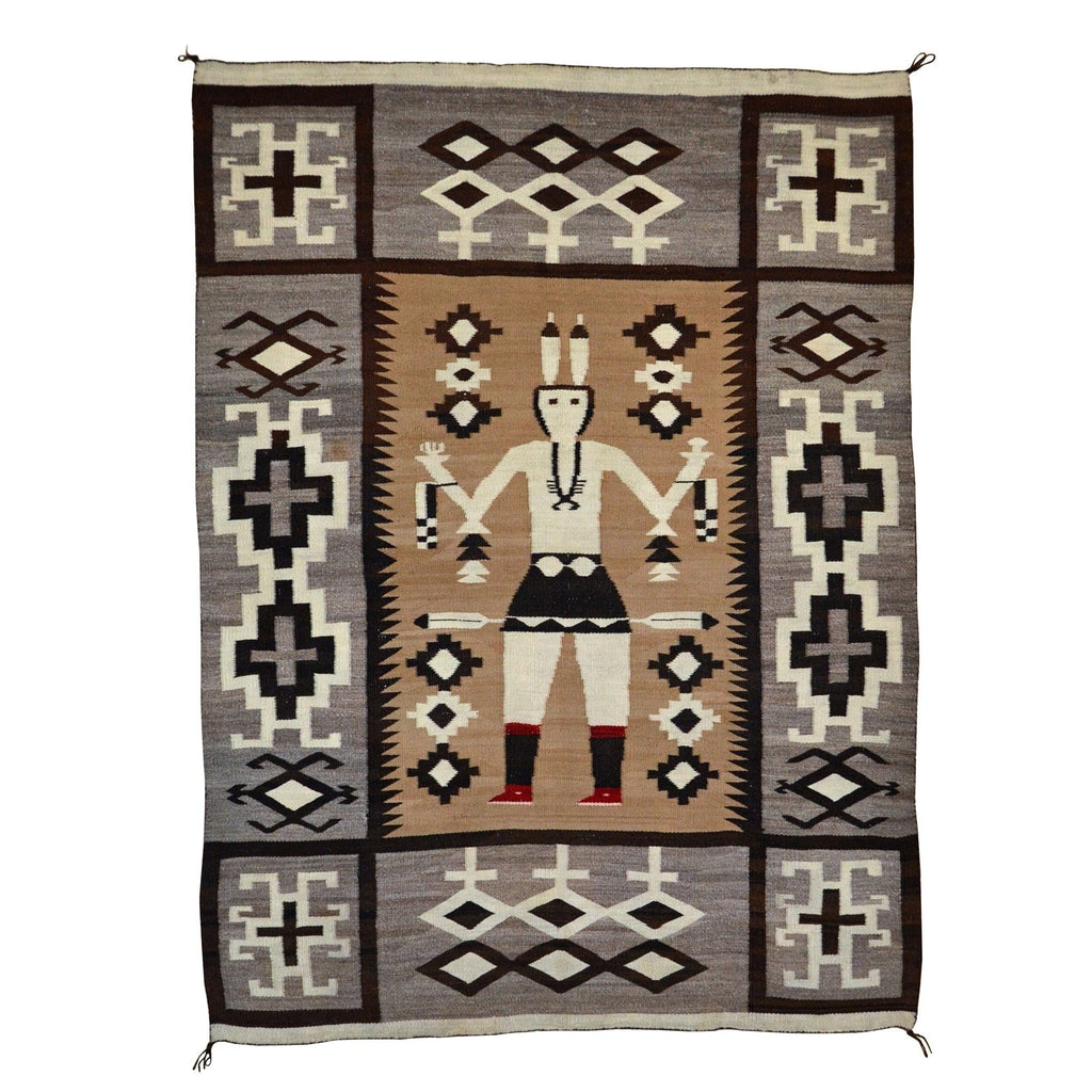 "Yei Be Chei Dancer : Historic Navajo Weaving : GHT 2247 : 66"" x 49"" - Getzwiller's Nizhoni Ranch Gallery"