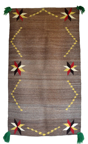 Saddle Blanket - Double Sunday Navajo Weaving : Historic : GHT 2254 : 34″ x 60″ - Getzwiller's Nizhoni Ranch Gallery