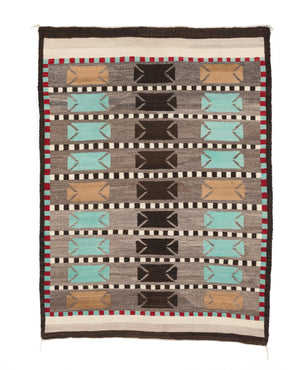 "Bistie Double Saddle Blanket Navajo Weaving : Historic : GHT 2259 : 43"" x 58"" - Getzwiller's Nizhoni Ranch Gallery"