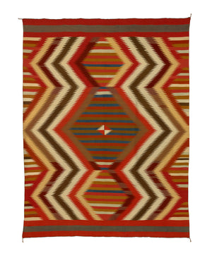 Historic Navajo Serape with Spider Woman Hole:  PC 258 : 57″ x 75.5″ - Getzwiller's Nizhoni Ranch Gallery