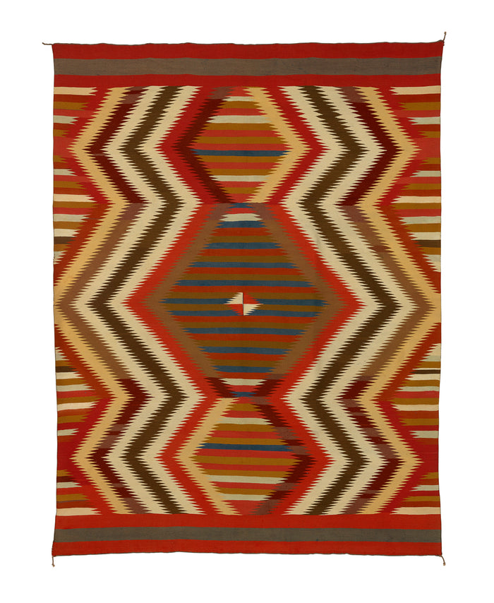 Historic Navajo Serape with Spider Woman Hole:  PC 258 : 57″ x 75.5″