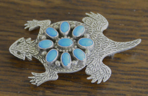 Native American Jewelry : Navajo : Sterling Silver Horn Toad Pin : Lee Charley : NAJ-7pa - Getzwiller's Nizhoni Ranch Gallery