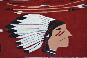 Authentic Navajo rug moki style pictorial with the head of a Native American Chief wearing a headdress