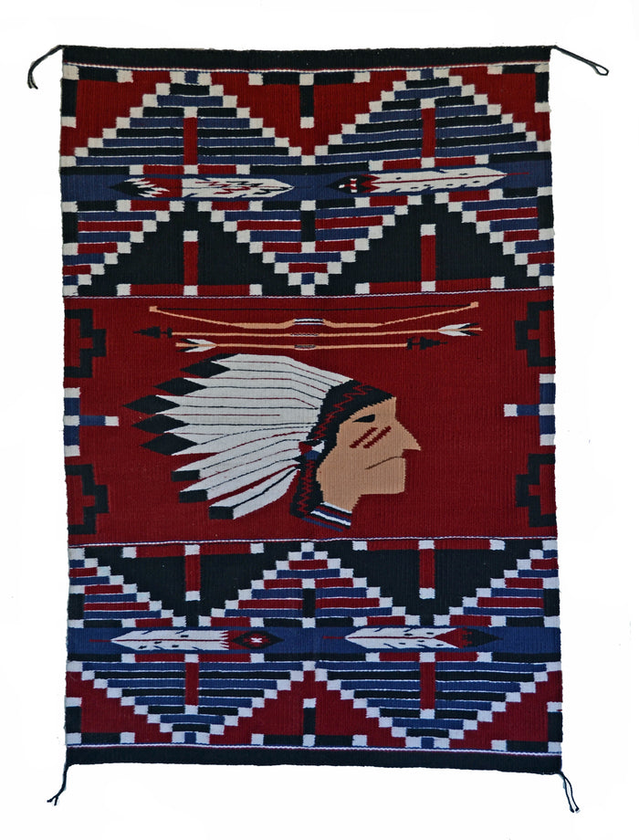 Indian Chief Pictorial Navajo Weaving : Lusandra Williams : 3349