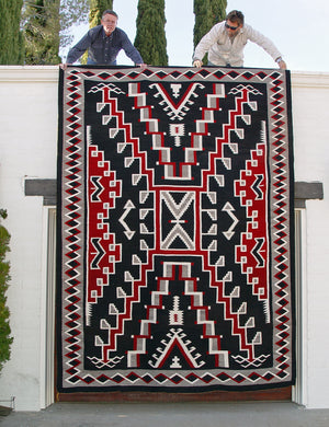"Crystal / Storm Pattern Navajo Weaving  : Historic : GHT 624 : 102"" x 138"" - Getzwiller's Nizhoni Ranch Gallery"