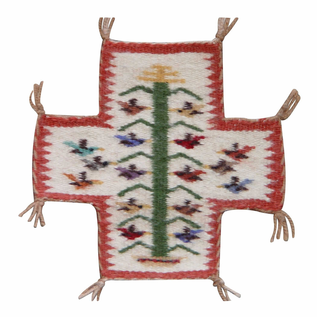 Miniature : Spider Woman Cross Tree of Life Navajo Weaving : Louise Yazzie : m-51 - Getzwiller's Nizhoni Ranch Gallery