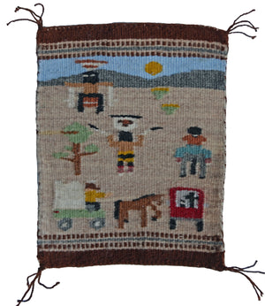 "Miniature : Apache Crown Dancer Pictorial Navajo Tapestry : Elizabeth Begay:  M - 153 : 5"" x 6.5"" - Getzwiller's Nizhoni Ranch Gallery"