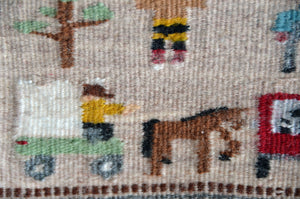 Miniature : Apache Crown Dancer Pictorial Navajo Tapestry : Elizabeth Begay:  M - 153 - Getzwiller's Nizhoni Ranch Gallery
