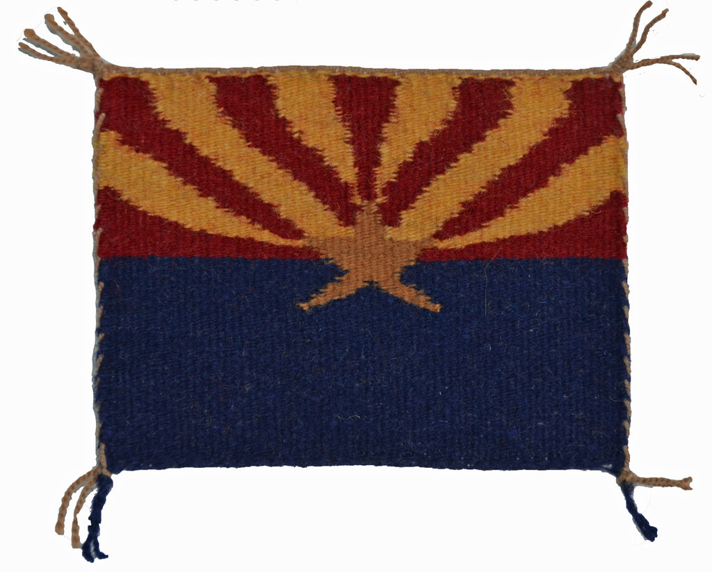 Miniature : Arizona Flag Navajo Tapestry : Louise Bia Yazzie : m-154 : 4.5″ x 3.5 ″ - Getzwiller's Nizhoni Ranch Gallery